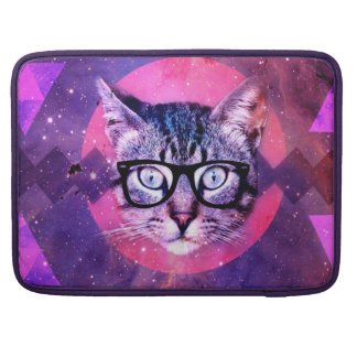 Geometric cat purple and pink pattern.Space cat Sleeve For MacBook Pro