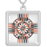 Geometric celtic cross silver plated necklace