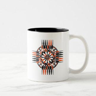 Geometric celtic cross Two-Tone coffee mug