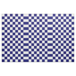 Geometric Checkered Navy and White Fabric