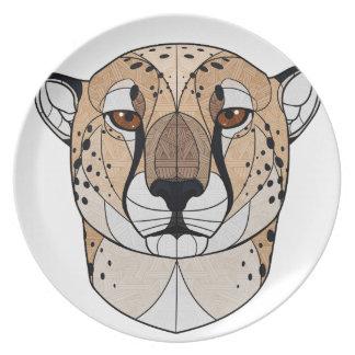 Geometric Cheetah Melamine Plate