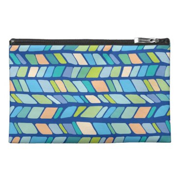 Beach Themed Geometric Chevron Pattern -Coastal Beach Colors Travel Accessory Bag