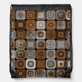 Geometric chocolate pattern drawstring backpack
