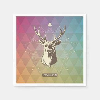 Geometric Christmas Reindeer Paper Napkin