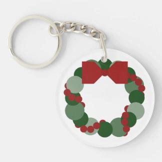 Geometric Christmas Wreath Keychain