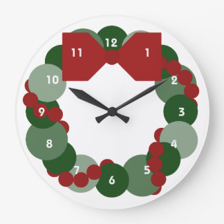 Geometric Christmas Wreath Large Clock