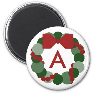 Geometric Christmas Wreath Magnet with Monogram