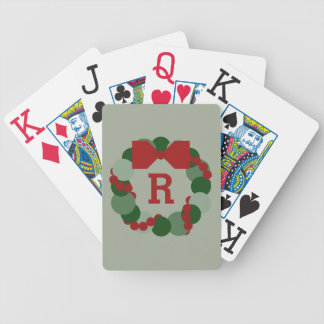 Geometric Christmas Wreath on Sage with Monogram Bicycle Playing Cards