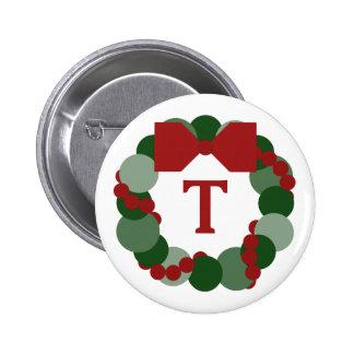 Geometric Christmas Wreath Pin, Custom Monogram Button