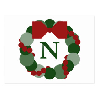Geometric Christmas Wreath Postcard with Monogram