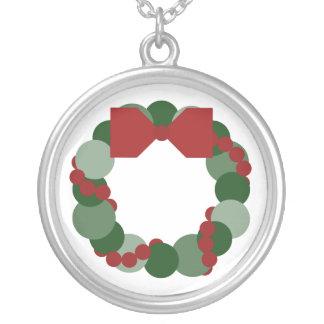 Geometric Christmas Wreath Round Pendant Necklace