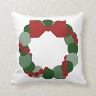 Geometric Christmas Wreath Throw Pillow