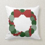 Geometric Christmas Wreath Throw Pillows