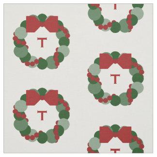 Geometric Christmas Wreath with Monogram Fabric