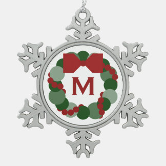 Geometric Christmas Wreath with Monogram Snowflake Pewter Christmas Ornament