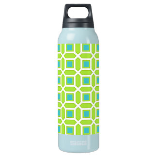 Geometric Circle Pattern Green and Blue Insulated Water Bottle