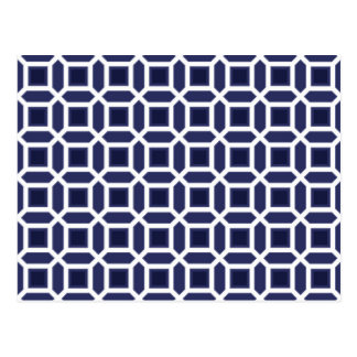 Geometric Circle Pattern Navy Blue Postcard