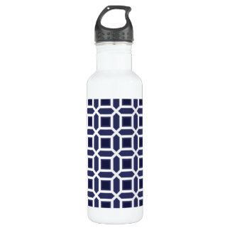 Geometric Circle Pattern Navy Blue Stainless Steel Water Bottle