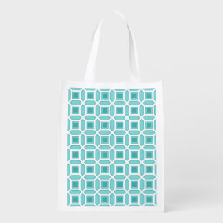 Geometric Circle Pattern Turquoise Blue Grocery Bags