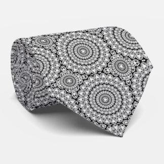 Geometric Circle White Diamonds Texture Print Neck Tie