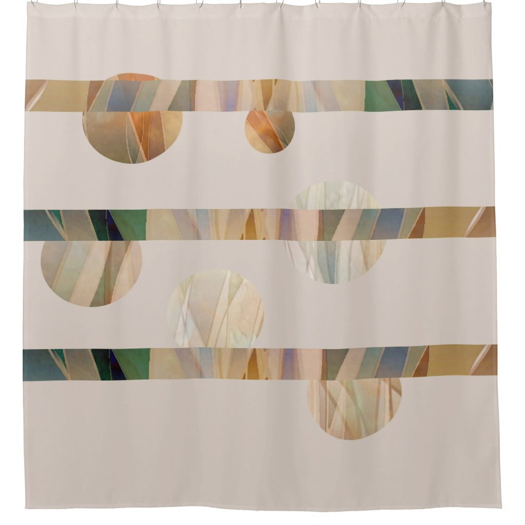 Geometric Circles and Stripes Shower Curtain