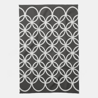 Geometric Circles Dark Grey Pattern Kitchen Towel