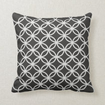 Geometric Circles Dark Grey Patterned Throw Pillow