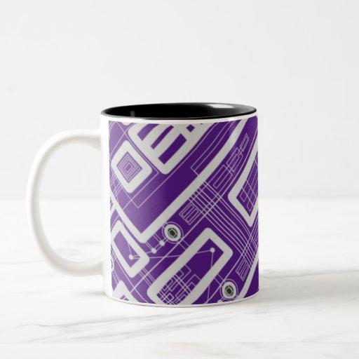 Geometric Circuit Board Two-Tone Coffee Mug