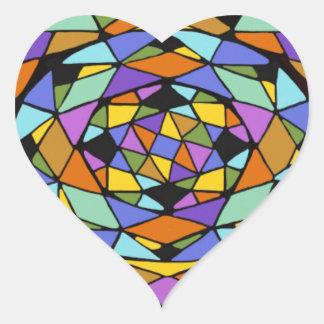Geometric Color Maze Heart Sticker