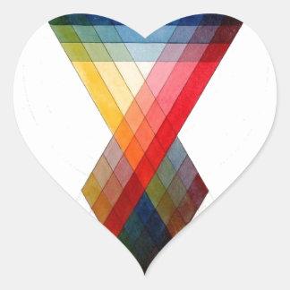 Geometric Color Rainbow Pattern Heart Sticker