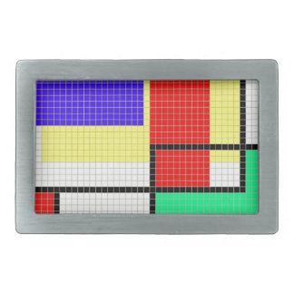 Geometric Colorful Pixel Pattern Rectangular Belt Buckle