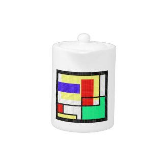 Geometric Colorful Pixel Pattern Teapot