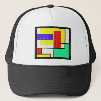 Geometric Colorful Pixel Pattern Trucker Hat