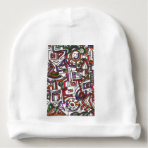 Geometric Colorful Whimsy - Abstract Ink Drawing Baby Beanie