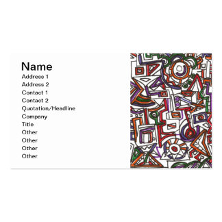 Geometric Colorful Whimsy - Abstract Ink Drawing Business Card