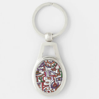 Geometric Colorful Whimsy - Abstract Ink Drawing Silver-Colored Oval Metal Keychain