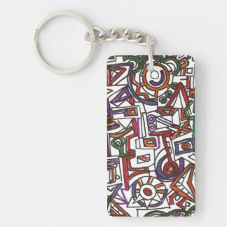 Geometric Colorful Whimsy - Abstract Ink Drawing Single-Sided Rectangular Acrylic Keychain