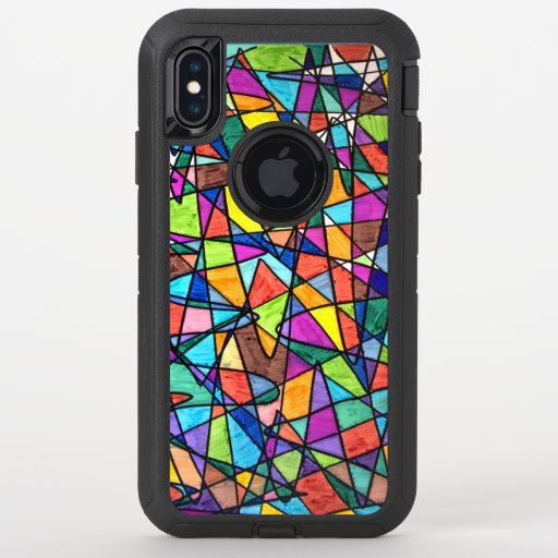 Geometric Colors OtterBox Defender iPhone XS Max Case