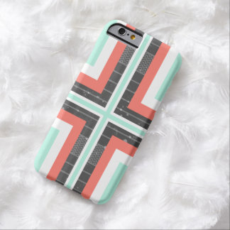 Geometric Coral & Mint Green Distressed Pattern iPhone 6 Case