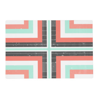 Geometric Coral & Mint Green Distressed Pattern Laminated Placemat