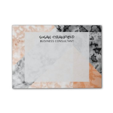 Professional Business Geometric Coral  Pink Marble Abstract Collage Post-it Notes