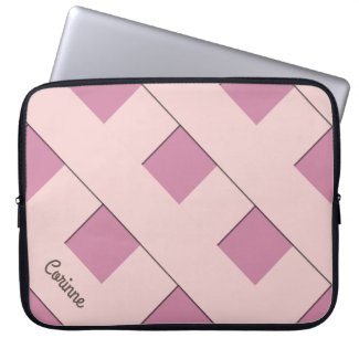 Geometric Crossing Pastel Pink Lines with Name