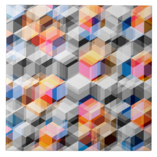 Geometric Cubes of Gray And Orange Large Square Tile