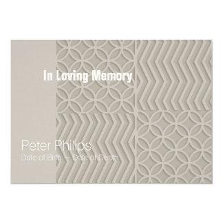 Geometric Custom Background Color Memorial Service Card