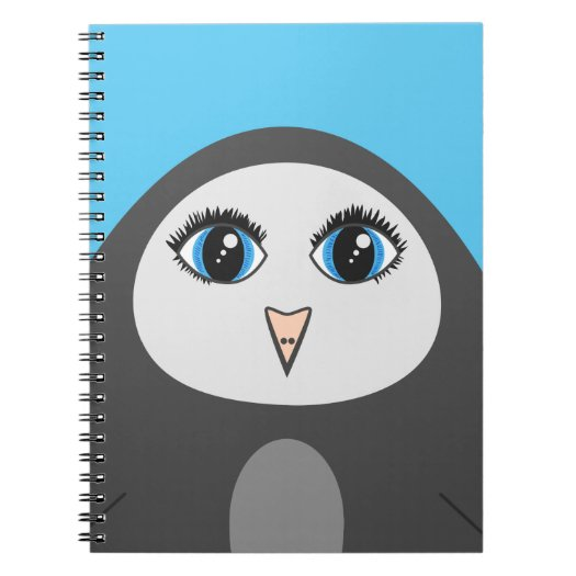 Geometric Cute Cartoon Big Eyed Penguin Kids Notebook