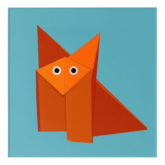 Geometric Cute Origami Fox Acrylic Print Zazzle