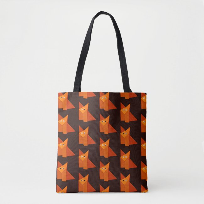 Geometric Cute Origami Fox Pattern