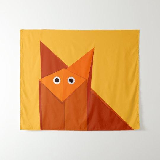 Geometric Cute Origami Fox Tapestry Zazzle