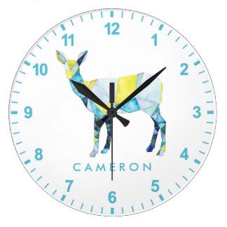 Geometric Deer Animal Large Clock