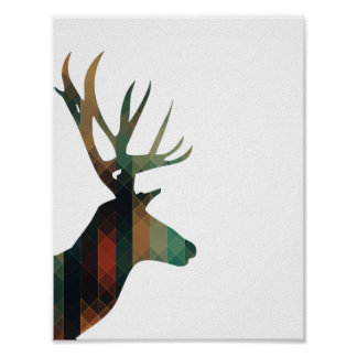 Geometric Deer with Antlers Poster